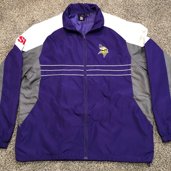 info for f1e6c 11524 Minnesota Vikings Reebok Windbreaker Jacket Mens L